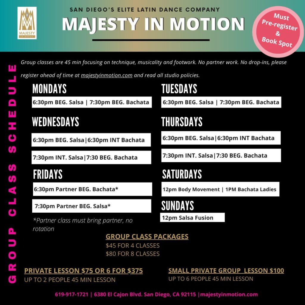 majesty class schedule 2020